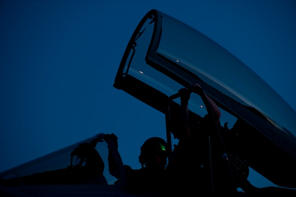 A Royal Air Force pilot assigned to  1 (Fighter) Squadron, RAF Lossiemouth, Scotland, converses with his Typhoon GR4's assigned crew chief prior to a Red Flag 15-1 night training sortie at Nellis Air Force Base, Nev., Feb. 4, 2015. Night missions play a crucial role in Red Flag exercises, allowing aircrews and maintainers the opportunity to test their skills in challenging low-light conditions. (U.S. Air Force photo by Airman 1st Class Joshua Kleinholz)