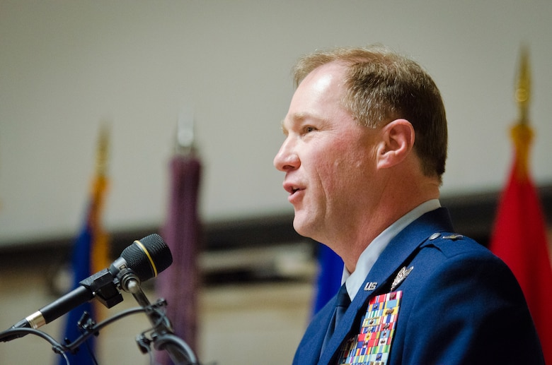 Brig. Gen. Steven P. Bullard, chief of staff for Headquarters, Kentucky Air National Guard, addresses the audience during his promotion ceremony at the Kentucky Air National Guard Base in Louisville, Ky., Feb. 7, 2015. Bullard is responsible to the assistant adjutant general for Air and to the adjutant general for coordination of policy guidance and the direction of more than 8,500 Kentucky Army and Air National Guardsmen. (U.S. Air National Guard photo by Master Sgt. Phil Speck)