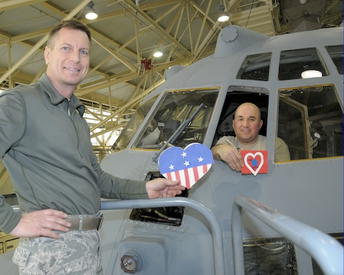 Technical Sergeants Ronald Olson (left) and Anthony Battaglia, Crew Chiefs, 914th Aircraft Maintenance Squadron display their custom made valentine cards at the Niagara Falls Air Reserve Station, N.Y. on February 10, 2015.  School children from various local schools in Erie County, N.Y. prepared these cards and many more with love and admiration to many local Western New York military members. (U.S. Air Force photo by Peter Borys)