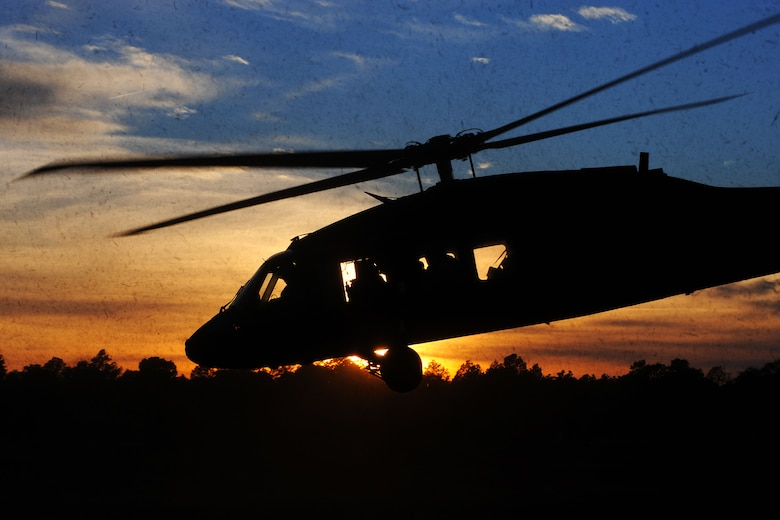 A U.S. Army National Guard UH-60 Black Hawk assigned to the 1st Battalion, 169th Aviation Regiment, Ft. Bragg, N.C., takes off at Poinsett Electronic Combat Range, Sumter, S.C., Feb. 6, 2015. In 2013, the range provided training for 754 aircraft from three Department of Defense services and three National Guard stations. (U.S. Air Force photo by Airman 1st Class Michael Cossaboom/Released)