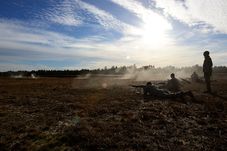 U.S. Army National Guard soldiers assigned to the 1st Battalion, 169th Aviation Regiment, Ft. Bragg, N.C., shoot M240 machine guns at Poinsett Electronic Combat Range, Sumter, S.C., Feb. 6, 2015. In 2013, there were a total of 1,070 bombs dropped on Poinsett. (U.S. Air Force photo by Airman 1st Class Diana M. Cossaboom/Released)