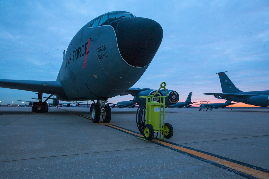 The sun rises on KC-135R Stratotankers with the 108th Wing, New Jersey Air National Guard at Joint Base McGuire-Dix-Lakehurst, N.J., Feb. 7, 2015. (U.S. Air National Guard photo by Master Sgt. Mark C. Olsen/Released)
