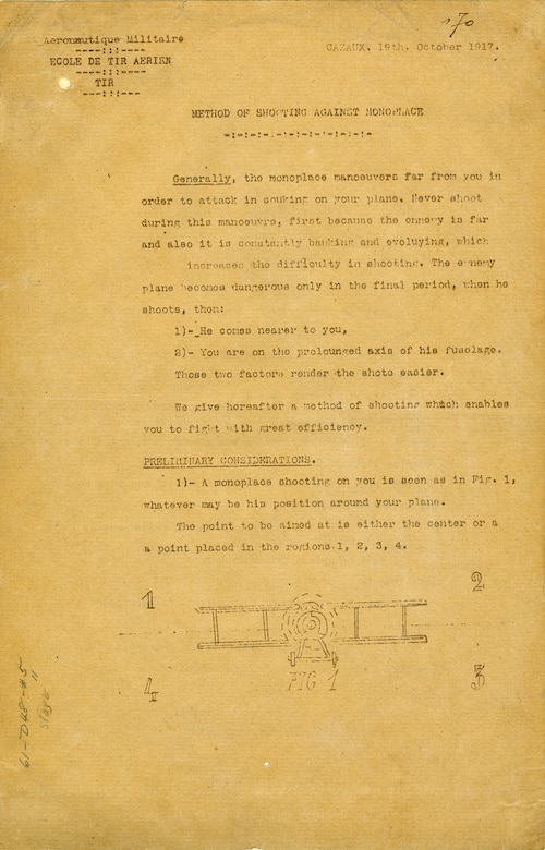 This newsletter, written for aircraft gunners and observers, describes the proper tactics of defensive shooting against enemy pursuit aircraft. These lessons were part of the core training received by American observers in France during World War I. This newsletter returned home with Lt. Harry F. Slarb, an observer with 9th Aero Squadron. (U.S. Air Force photo)
