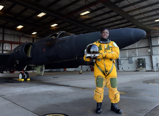 Air Force Lt. Col. Merryl Tengesdal stands in front of a U-2 at Beale Air Force Base, Calif., Feb. 9, 2015. Tengesdal is the only black female U-2 pilot in history. U.S. Air Force photo by Senior Airman Bobby Cummings