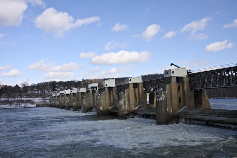 A Pittsburgh television news team visited Montgomery Locks and Dam on the Ohio River Feb. 3 as part of a segment on the potential consequences associated with a loss of pool at a local navigation facility