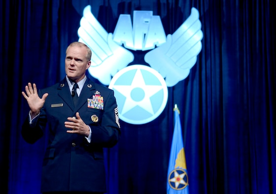 "Chief Master Sgt. of the Air Force James A. Cody delivers his ""Enlisted Perspective"" at the Air Force Association's annual Air Warfare Symposium and Technology Exposition, Feb. 12, 2015, in Orlando, Fla. Cody focused on key areas such as enlisted development, resiliency for Airmen and their families, and innovation. (U.S. Air Force photo/Scott M. Ash)"