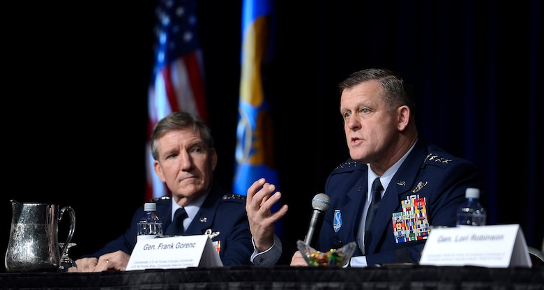 Gen. Frank Gorenc responds to a question from the audience during a panel discussion on Combat Air Forces at the Air Force Association's annual Air Warfare Symposium and Technology Exposition Feb. 12, 2015, in Orlando, Fla. Gorenc, the U.S Air Forces in Europe-Air Forces Africa commander, shared the panel with Air Combat Command commander Gen. Hawk Carlisle, Pacific Air Forces Command commander Gen. Lori J. Robinson, and Global Strike Command commander Lt. Gen. Stephen Wilson. (U.S. Air Force photo/Scott M. Ash)