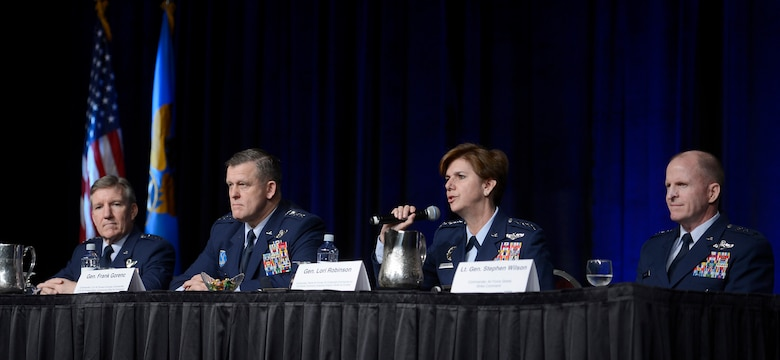 Gen. Lori J. Robinson provides the Pacific region's perspective during a panel discussion on Combat Air Forces at the Air Force Association's annual Air Warfare Symposium and Technology Exposition Feb. 12, 2015, in Orlando, Fla. Robinson, the Pacific Air Forces Command commander, shared the panel with Air Combat Command commander Gen. Hawk Carlisle, U.S. Air Forces in Europe-Air Forces Africa commander Gen. Frank Gorenc, and Global Strike Command commander Lt. Gen. Stephen Wilson. (U.S. Air Force photo/Scott M. Ash)