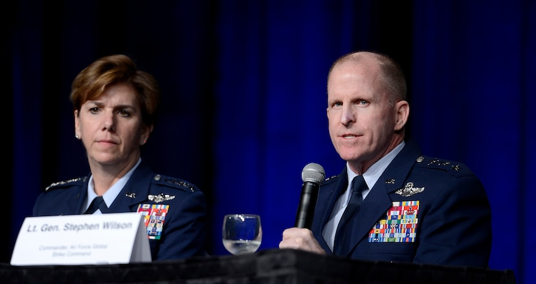 Lt. Gen. Stephen Wilson responds to a question from the audience during a panel discussion on Combat Air Forces at the Air Force Association's annual Air Warfare Symposium and Technology Exposition Feb. 12, 2015, in Orlando, Fla.  Wilson, the Global Strike Command commander, shared the panel with Air Combat Command commander Gen. Hawk Carlisle, U.S. Air Forces in Europe commander Gen. Frank Gorenc, and Pacific Air Forces Command commander Gen. Lori J. Robinson. (U.S. Air Force photo/Scott M. Ash)