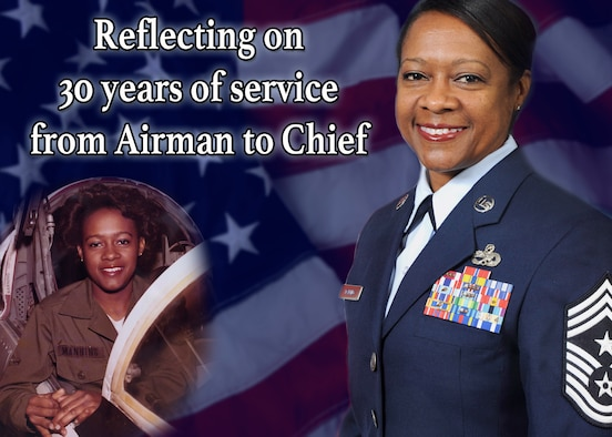 From Airman to Chief: Reflecting on 30 years of service. (U.S. Air Force graphic by Michael Dukes)