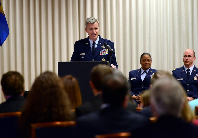Col. Rick Poplin addresses family, friends and members of his unit after accepting command of the 138th Operations Group, Feb. 8, 2015, Tulsa Air National Guard base, Tulsa, Okla.  The ceremony was officiated by Col. David B. Burgy, 138th Fighter Wing commander and was held during the wing's February unit training assembly.  (U.S. National Guard photo by Master Sgt.  Mark A. Moore/Released)
