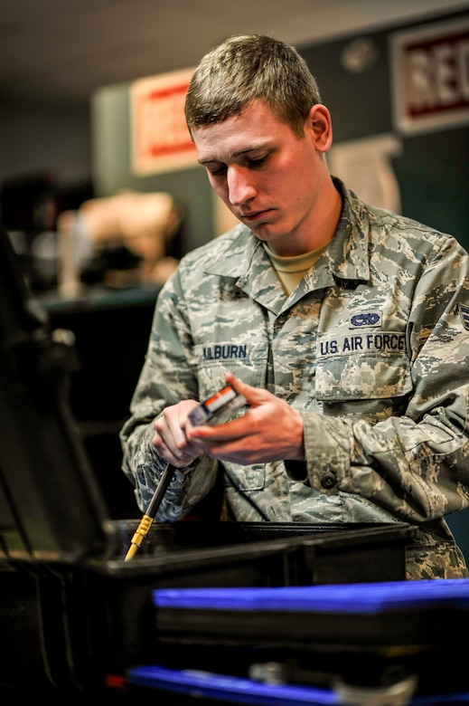 Senior Airman Joshua Kilburn, a support specialist with the 437th Aircraft Maintenance Squadron, inspects a launch kit to ensure accountability on tools at Joint Base Charleston, S.C., Feb. 10, 2015. Kilburn and his team are accountable for over $18 million in tools that support all flight line operations. (U.S. Air Force photo/Tech. Sgt. Renae Pittman)