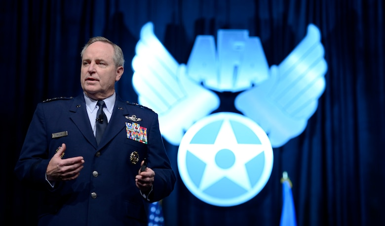 Air Force Chief of Staff Gen. Mark A. Welsh III delivers his 'Air Force Update' to attendees of the Air Force Association's annual Air Warfare Symposium and Technology Exposition Feb. 12, 2015, in Orlando, Fla. One of Welsh's points was that we need to continue on a path of innovation.  (U.S. Air Force photo/Scott M. Ash)