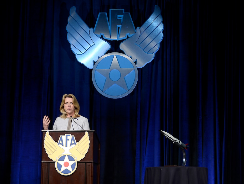 "Secretary of the Air Force Deborah Lee James delivers her ""State of the Force"" keynote speech at the Air Force Association's annual Air Warfare Symposium and Technology Exposition Feb. 13, 2015, in Orlando, Fla. James spoke about not accepting further budget and force reductions. (U.S. Air Force photo/Scott M. Ash)"