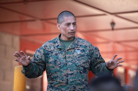 Sgt. Maj. Juan Diaz, sergeant major of Combat Logistics Regiment 1, 1st Marine Logistics Group, held a brief, March 8, for the junior Marines of General Support Motor Transport, CLR-1, 1st MLG. Since he assumed his post as sergeant major of CLR-1, here, Jan. 21, Diaz wasted no time making sure his Marines understand what he expects as it pertains to discipline, conduct, standards and morale.