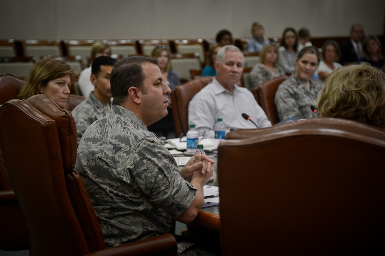 Col. Andre Briere, 6th Air Mobility Wing vice commander, speaks during the MacDill Council for Education Excellence meeting on Jan. 21, 2015, in the Davis Conference Center at MacDill Air Force Base, Fla. Quarterly meetings will continue to be held to allow parents to present their educational concerns to the council. (U.S. Air Force photo by Master Sgt. Larry Carpenter/Released)