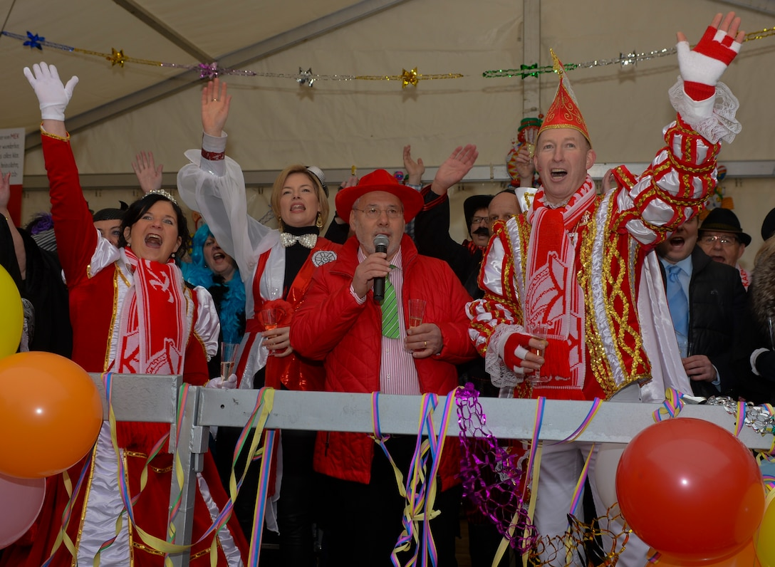 A delegation of Fasching revelers lead a crowd in a chant during a Fasching celebration in Wittlich, Germany, Feb. 12, 2015. More than 250 citizens attended the celebration inside the city's main square. (U.S. Air Force Photo by Staff Sgt. Joe W. McFadden/Released)