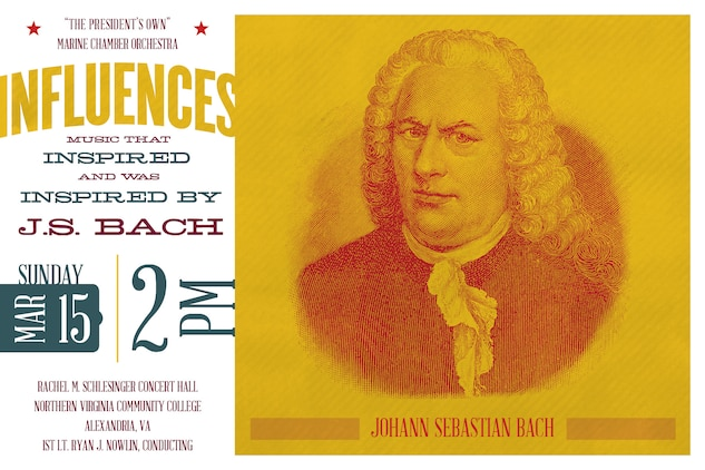 Sunday, March 15 at 2 p.m. - Musicians' influences upon each other's work can be traced throughout history. This program unites Johann Sebastian Bach with two composers whose music inspired him and was inspired by him. Benedetto Marcello's celebrated oboe concerto, featuring Staff Sgt. Tessa Vinson, offers some of the most recognized melodies of the Baroque period. Over the years, the piece was mistakenly attributed to other Baroque composers, including Bach, who after hearing it was compelled to arrange the concerto in its entirety for solo harpsichord. Nearly 80 years after Bach's death, a young Felix Mendelssohn similarly arranged and conducted Bach's St. Matthew Passion. In this same year, Mendelssohn made the first sketch of his immortal Scottish symphony, which he then set aside until the years preceding its 1842 première. The concert, which will be held at the Rachel M. Schlesinger Concert Hall and Arts Center in Alexandria, Va., is free and no tickets are required.
