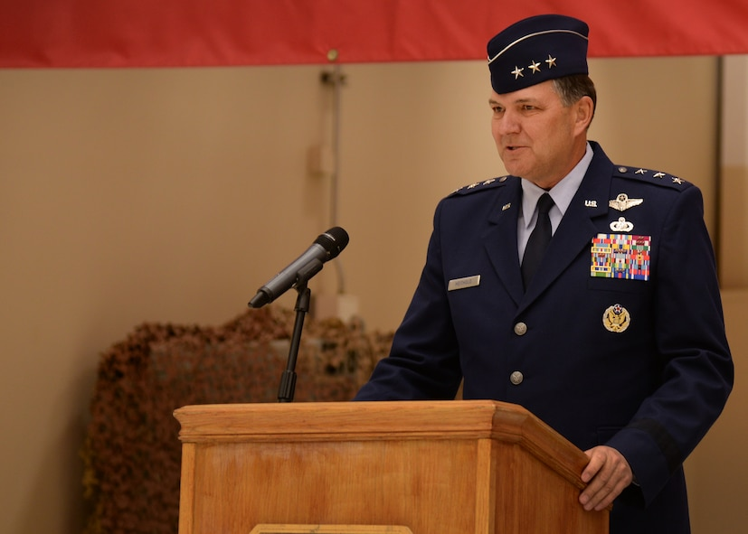 U.S. Air Force Lt. Gen. Bradley Heithold, Commander Air Force Special Operations Command, addresses Air Commandos at the 27th Special Operations Wing change of command ceremony Feb. 17, 2015 at Cannon Air Force Base, N.M. Heithold spoke with enthusiasm of both Col. Tony Bauernfeind, outgoing 27th SOW commander, and Col. Benjamin Maitre, incoming 27th SOW commander, along with the team of Airmen they lead. (U.S. Air Force photo/Airman 1st Class Chip Slack)