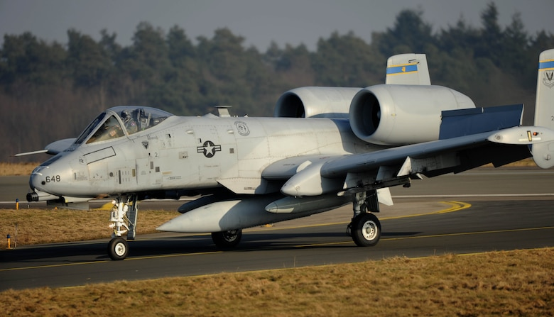 An A-10 Thunderbolt II aircraft assigned to the 354th Expeditionary Fighter Squadron taxis on the flight line at Spangdahlem Air Base, Germany, Feb. 13, 2015. The A-10s deployed as part of a theater security package in support of Operation Atlantic Resolve. The A-10s will conduct flying training deployments and off-station training with NATO allies to further enhance interoperability. (U.S. Air Force photo by Airman 1st Class Timothy Kim/Released)
