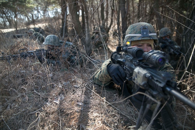 Republic of Korea and U.S. Marines assault enemy defensive positions during Korean Marine Exchange Program 15-17 Feb. 13 at the Cham Sae Mi Close-Quarters Battle Training Facility in Pohang, Republic of Korea. KMEP 15-17 is a regularly-scheduled, bilateral, small-unit training exercise, which enhances the combat readiness and interoperability of ROK and U.S. Marine Corps forces. The ROK Marines are with Company 6, 32nd Battalion, 1st ROK Marine Division. The U.S. Marines are with Company K, 3rd Battalion, 3rd Marine Regiment, currently assigned to 4th Marine Regiment, 3rd Marine Division, III Marine Expeditionary Force under the unit deployment program.