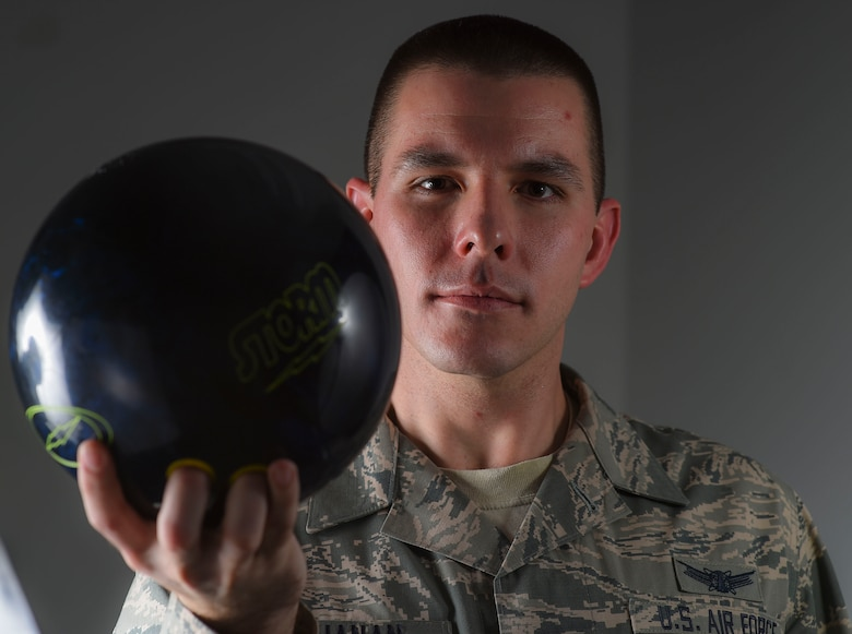 Staff Sgt. William Buchanan competed in the Military Bowling Championship Jan. 16-25, 2015, in Las Vegas, Nevada. Buchanan and his bowling team took 15th place out of 262 other teams during the championship. Buchanan is a 2nd Space Warning Squadron space operator. (U.S. Air Force photo/Airman 1st Class Samantha Saulsbury)
