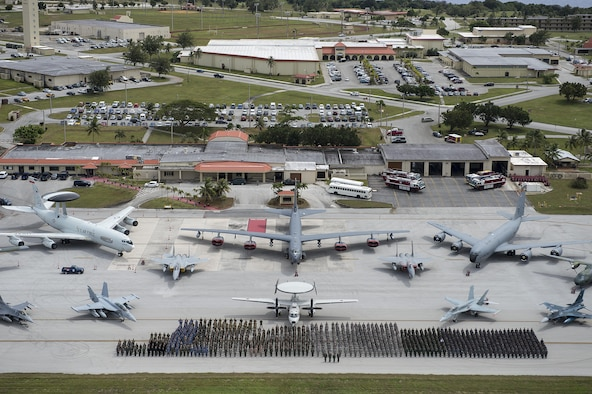 Exercise Cope North 15 participants and aircraft from the U.S. Air Force, U.S. Navy, Japan Air Self-Defense Force, Royal Australian air force, South Korean air force, Royal New Zealand air force, and Philippine air force participate in a group photo event Feb.13, 2015, at Anderson Air Force Base, Guam. Cope North is an annual multilateral field training exercise that emphasizes the exchange and execution of tactics, techniques and procedures, while enhancing interoperability. (U.S. Air Force photo/Tech. Sgt. Jason Robertson)