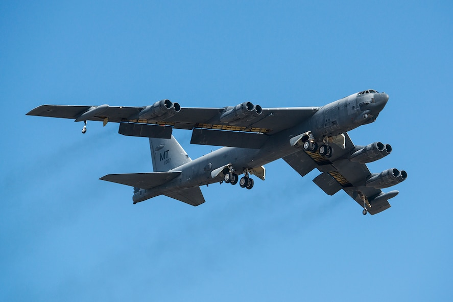 "A U.S. Air Force B-52H Stratofortress takes off after being taken out of long term storage at the 309th Aerospace Maintenance and Regeneration Group, Feb. 13, 2015, Davis-Monthan Air Force Base, Ariz. The aircraft was decommissioned in 2008 and has spent the last seven years sitting in the ""Boneyard,"" but was selected to be returned to active status and will eventually rejoin the B-52 fleet. (U.S. Air Force photo by Master Sgt. Greg Steele/Released)"