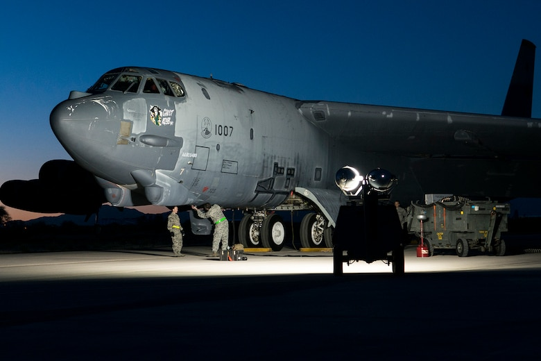 "The ""Ghost Rider"" is prepared for an early morning taxi test on Feb. 12, 2015, Davis-Monthan Air Force Base, Ariz. The B-52H Stratofortress was decommissioned in 2008 and has been sitting in the 309th Aerospace Maintenance and Regeneration Group's ""Boneyard,"" but is being restored to join the active fleet of B-52s. (U.S. Air Force photo by Master Sgt. Greg Steele/Released)"