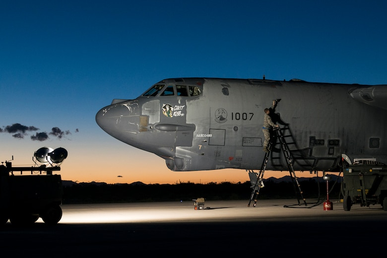 "The ""Ghost Rider"" is prepared for an early morning taxi test on Feb. 12, 2015, Davis-Monthan Air Force Base, Ariz. The B-52H Stratofortress was decommissioned in 2008 and has been sitting in the 309th Aerospace Maintenance and Regeneration Group's ""Boneyard"", but is being restored to join the active fleet of B-52s. (U.S. Air Force photo by Master Sgt. Greg Steele/Released)"
