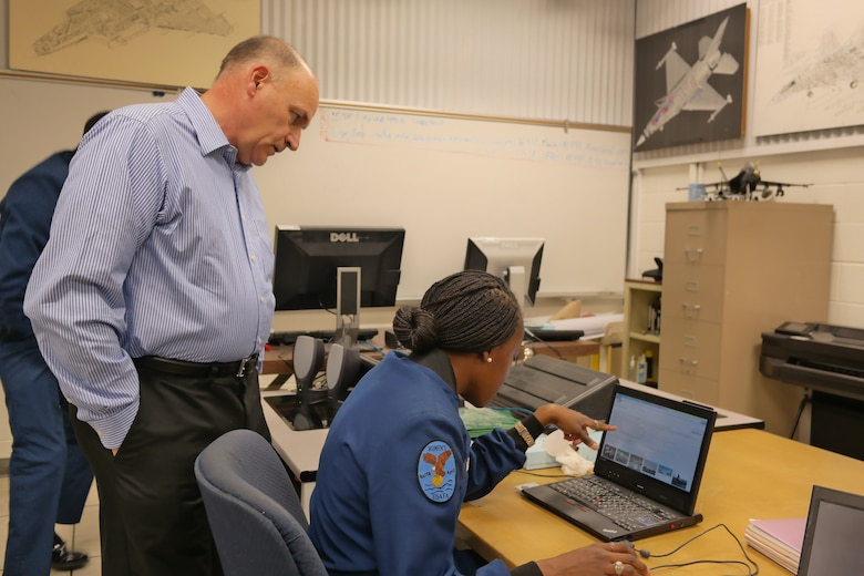 Dr. Steven Brandt leads the Academy's Aeronautical Department's aircraft design class here. (Amy Gillentine)