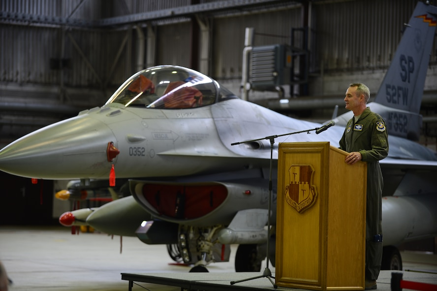 U.S. Air Force Lt. Gen. Darryl Roberson, 3rd Air Force and 17th Expeditionary Air Force commander, speaks at a theater security package announcement at Spangdahlem Air Base, Germany, Feb. 18, 2015. This TSP is the first rotational deployment of Airmen in Europe and will train alongside NATO allies to increase interoperability and capability. (U.S. Air Force photo by Senior Airman Gustavo Castillo/Released)