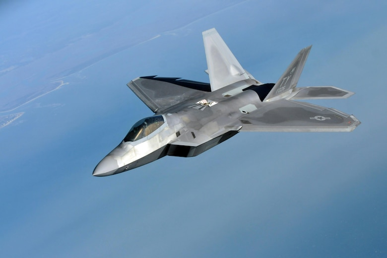 An F-22 Raptor flies during a refueling mission during Sentry Savannah 15-1 Feb. 15, 2015. More than 1,400 total-force service members from the Washington D.C. Air National Guard, Minnesota Air National Guard (Duluth), and Tyndall Air Force Base, Fla., gathered in Savannah, Ga., to support the Sentry Savannah 15-1 exercise. (Air National Guard photo/Senior Airman Justin Hodge)