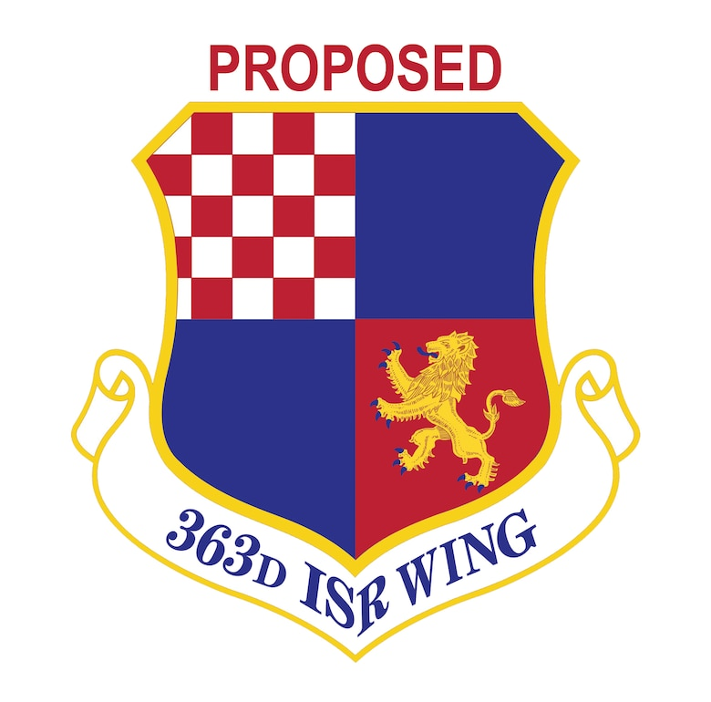 The proposed organizational emblem of the newly activated 363rd Intelligence, Surveillance and Reconnaissance Wing is based on the 363rd Flying Training Group. Only the scroll text will change. Once the emblem is approved by the U.S. Army Institute of Heraldry, it becomes the official emblem of the organization. (U. S. Air Force graphic)