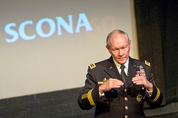 Army Gen. Martin E. Dempsey, chairman of the Joint Chiefs of Staff, talks to about 700 attendees during a student conference on national affairs at Texas A&M University in College Station, Texas, Feb. 19, 2015. DoD photo by D. Myles Cullen