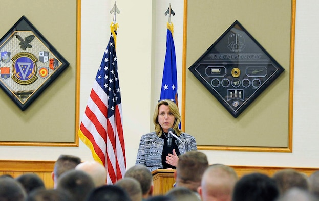 Secretary of the Air Force Deborah Lee James addresses Airmen during an all call Feb. 19, 2015, at Malmstrom Air Force Base, Mont. James spoke about Air Force Global Strike Command's Force Improvement Program successes and the future of the nuclear mission. (U.S. Air Force photo/ Staff Sgt. Delia Marchick)