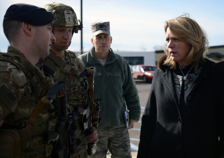 Secretary of the Air Force Deborah Lee James, right, speaks with Airmen Feb. 19, 2015, at Malmstrom Air Force Base, Mont. James visited Malmstrom to discuss its mission and to connect with the Airmen stationed there. (U.S. Air Force photo/Airman 1st Class Dillon Johnston)