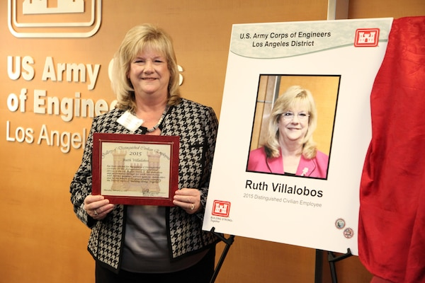 The Los Angeles District inducted Ruth Villalobos, the former chief of Planning Division who retired in 2008, into the District's Gallery of Distinguished Civilian Employees at a ceremony Feb. 19 in the District's Los Angeles headquarters. Villalobos is one of three former employees inducted in 2015.