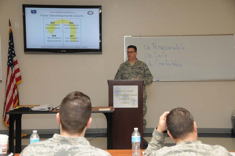 Senior Master Sergeant Joseph Hart, Human Resource Advisor and Satellite Professional Military Education Facilitator, 143d Airlift Wing, Rhode Island Air National Guard, addresses the attendees of the inaugural Leadership Development Course hosted by the RIANG Senior Non-Commissioned Officer Council at Quonset Air National Guard Base, North Kingstown, RI on January 21, 2015. National Guard Photo by Master Sgt Janeen Miller (RELEASED)