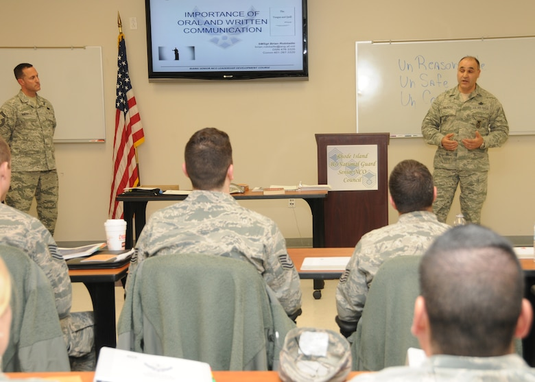 Chief Master Sergeant Jose Basltazar, Command Chief Master Sergeant, 143d Airlift Wing, Rhode Island Air National Guard, addresses the attendees of the inaugural Leadership Development Course hosted by the RIANG Senior Non-Commissioned Officer Council at Quonset Air National Guard Base, North Kingstown, RI on January 21, 2015. National Guard Photo by Master Sgt Janeen Miller (RELEASED)