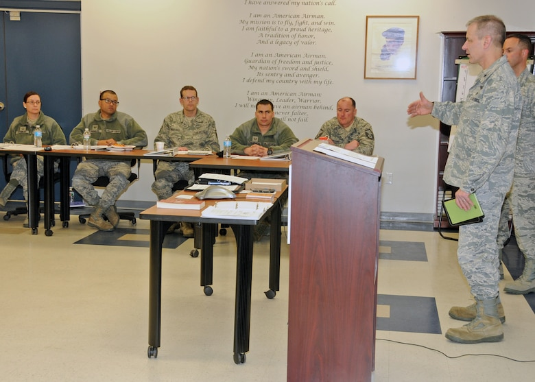 Brigadier General Mark Jannitto, Deputy Adjutant General, Rhode Island Air National Guard, addresses the attendees of the inaugural Leadership Development Course hosted by the RIANG Senior Non-Commissioned Officer Council at Quonset Air National Guard Base, North Kingstown, RI on January 21, 2015. National Guard Photo by Master Sgt Janeen Miller (RELEASED)