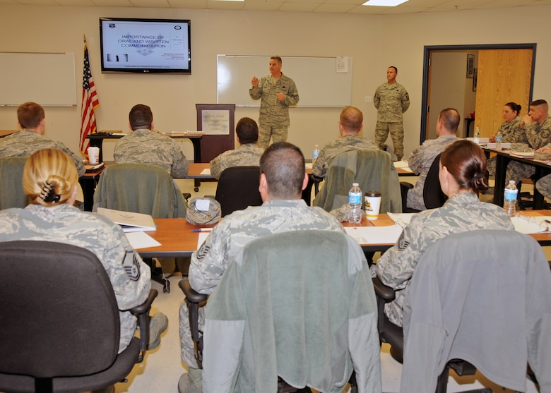 Colonel Arthur Floru, Commander, 143d Airlift Wing, Rhode Island Air National Guard, addresses the attendees of the inaugural Leadership Development Course hosted by the RIANG Senior Non-Commissioned Officer Council at Quonset Air National Guard Base, North Kingstown, RI on January 21, 2015. National Guard Photo by Master Sgt Janeen Miller (RELEASED)