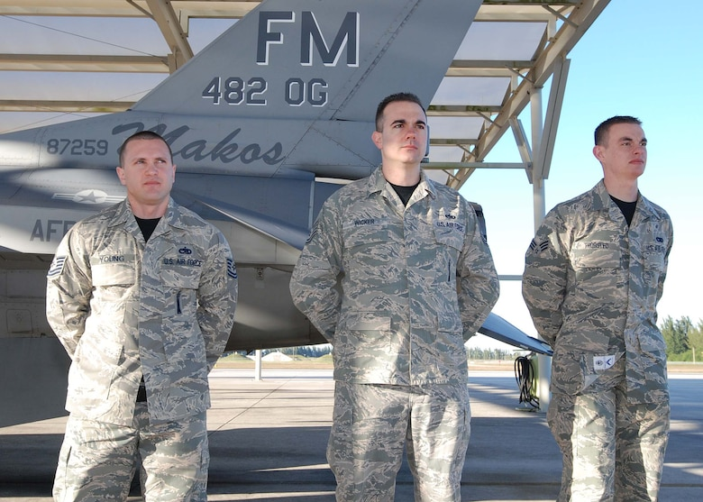 HOMESTEAD AIR RESERVE BASE, Fla. - Tech. Sgt. Michael Young, Tech. Sgt. Bryan Wicker, and Senior Airman Jonathan Thursted, weapons load crew members from the 419th Fighter Wing, Hill Air Force Base, Utah pose for a group photo before winning the 10th Air Force Load Competition Championship at Homestead Air Reserve Base, Fla., Feb. 19. The competition is graded based on an overall score in four different areas: dress and personal appearance, consolidated tool kit inspection, general knowledge test, and a competitive munitions load. (U.S. Air Force photo by Staff Sgt. Jeremy Roman)