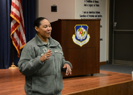 Maj. Gen. Linda Singh (MD), adjutant general for Maryland, addresses airmen from the 175th Wing, Maryland Air National Guard, Baltimore, Md., on February 20, 2015. Singh was visiting the base for the first time since being appointed as the adjutant general for Maryland. (Air National Guard photo by Tech. Sgt. Christopher Schepers/RELEASED)