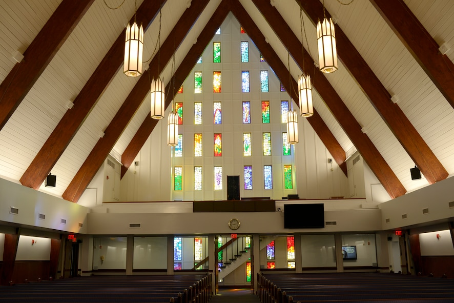 Recent Base Chapel renovations included new energy-efficient lighting, refurbished pews and a new sound system..(U.S. Air Force photo by Ed Aspera)