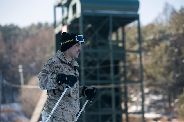 U.S. Marine Cpl. Cesare D. Marin practices turning while conducting snow mobility training during Korean Marine Exchange Program 15-3 on Jan. 23 in Pyeongchang, Republic of Korea. U.S. and ROK Marines learned different techniques for turning, stopping and falling while skiing. Marin, from Rancho Cucamonga, California, is a reconnaissance Marine with Alpha Company, 3rd Reconnaissance Battalion, 3rd Marine Division, III Marine Expeditionary Force.