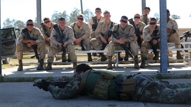 A Critical Skills Operator with 3rd Marine Special Operations Battalion, U.S. Marine Corps Forces Special Operations Command, teaches Marines with 2nd Combat Engineer Battalion, 2nd Marine Division, shooting techniques before firing M4 carbine rifles and M9 service pistols at a range here, Feb. 10, 2015. Marines with 3rd MSOB participated in RAVEN 15-03, a 10-day realistic military training exercise to enhance the battalion's readiness for worldwide support to global security. Marines with 2nd CEB played the role of a partner nation force during the exercise.
