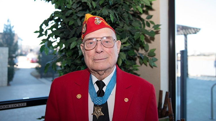 """Hershel """"Woody"""" Williams, Marine survivor from the battle of Iwo Jima and the last living Medal of Honor recipient for his actions during the battle, poses for a photo during the Iwo Jima Battle Survivors and Family Association 70th anniversary reunion at Wichita Falls, Texas, February 14, 2015. Williams has started the Hershel """"Woody"""" Williams Medal of Honor Foundation, which encourages, with the assistance of the American public and community leaders, establishing permanent gold star family memorial monuments in their communities throughout the United States to honor gold star families who have sacrificed a loved one in the service of their country."""