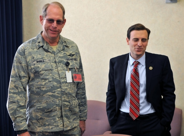 Nevada National Guard Adjutant General, Brig. Gen. William Burks, left, meets with Nevada Attorney General Adam Laxalt on Feb. 12 to discuss the potential creation of a military legal assistance program. Laxalt, elected in November and a former Navy Judge Advocate General, said he wants to create an Office of Military Legal Assistance to match veterans and private lawyers looking to work pro-bono on certain civil cases.  NV ANG photo by Tech. Sgt. Emerson Marcus (released).