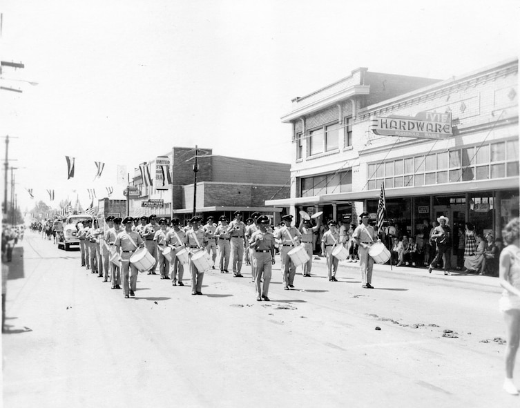 Here the OreANG Drum & Bugle Corps performs in the Phil Sheridan Days Parade on June 17, 1961 in Sheridan, Oregon. The corps won a first prize ribbon in the event.